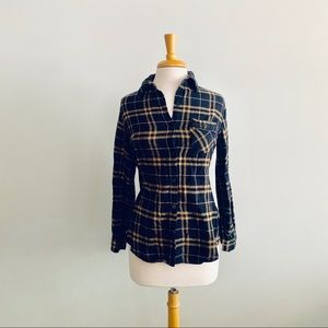 Lucca Couture Navy & Yellow Flannel Shirt Sz M